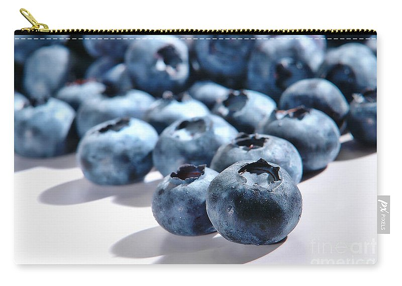 Blueberries Carry-all Pouch featuring the photograph Fresh And Natural Blueberries Close Up On White by Olivier Le Queinec