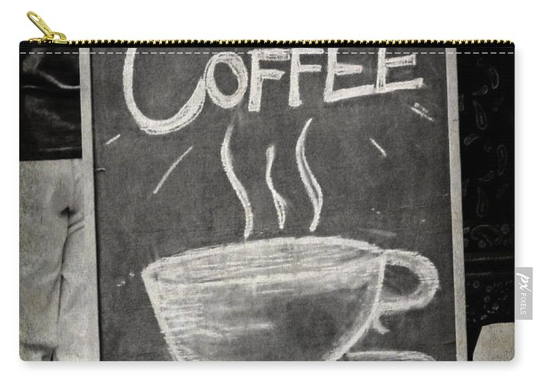 Black And White Carry-all Pouch featuring the photograph Fresh Coffee by Valerie Reeves
