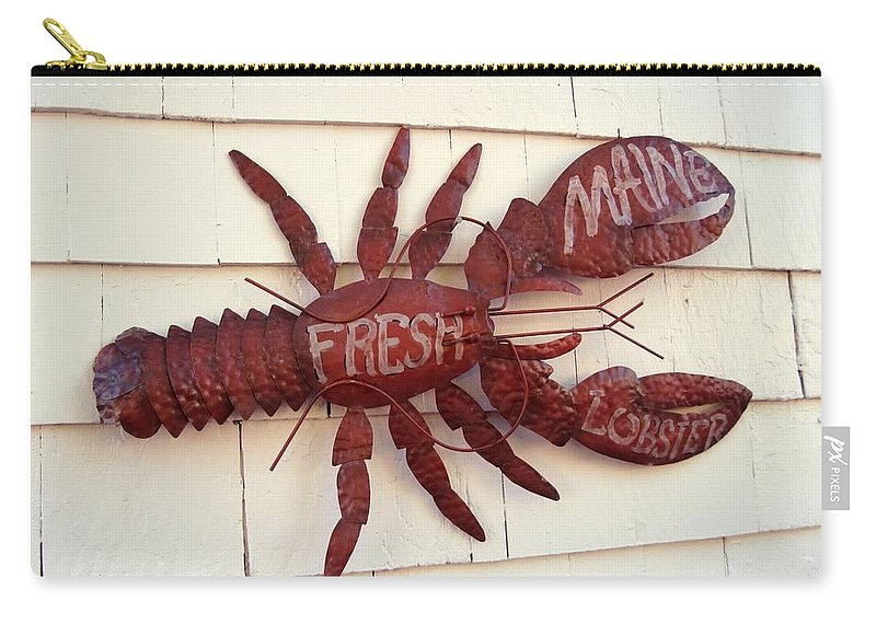 Nautical Carry-all Pouch featuring the photograph Fresh Maine Lobster Sign Boothbay Harbor Maine by Patricia E Sundik