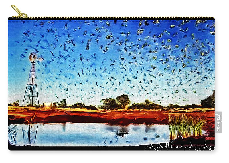 Group Of Birds Flying Carry-all Pouch featuring the painting Fresh Mill by Withintensity Touch