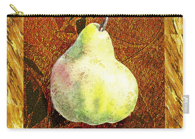 Pear Carry-all Pouch featuring the painting Fresh N Happy Pear Decorative Collage by Irina Sztukowski