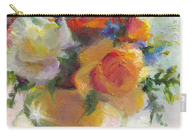 Roses Carry-all Pouch featuring the painting Fresh - Roses In Teacup by Talya Johnson