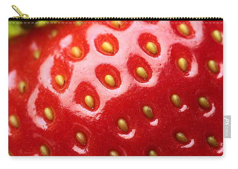 Strawberry Carry-all Pouch featuring the photograph Fresh Strawberry Close-up by Johan Swanepoel
