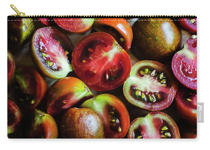 Tranquility Carry-all Pouch featuring the photograph Freshly Cut Tomatoes by Jamie Grill