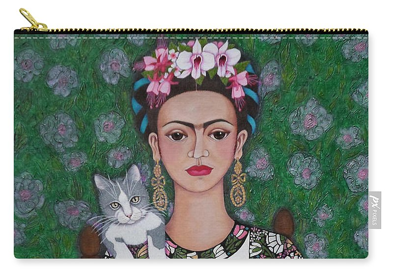 Frida Carry-all Pouch featuring the painting Frida Cat Lover by Madalena Lobao-Tello
