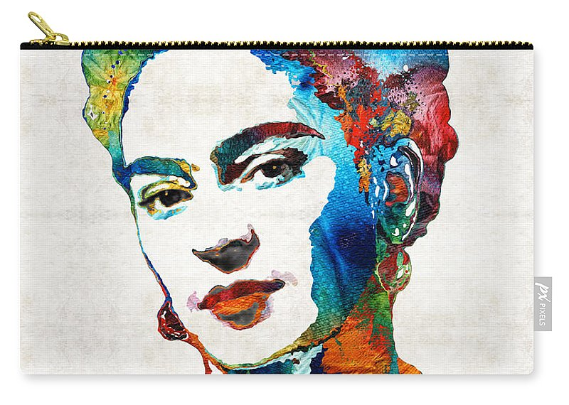 Frida Kahlo Carry-all Pouch featuring the painting Frida Kahlo Art - Viva La Frida - By Sharon Cummings by Sharon Cummings