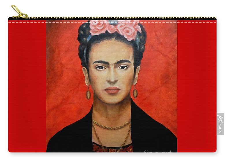 Frida Carry-all Pouch featuring the painting Frida Kahlo by Yelena Day