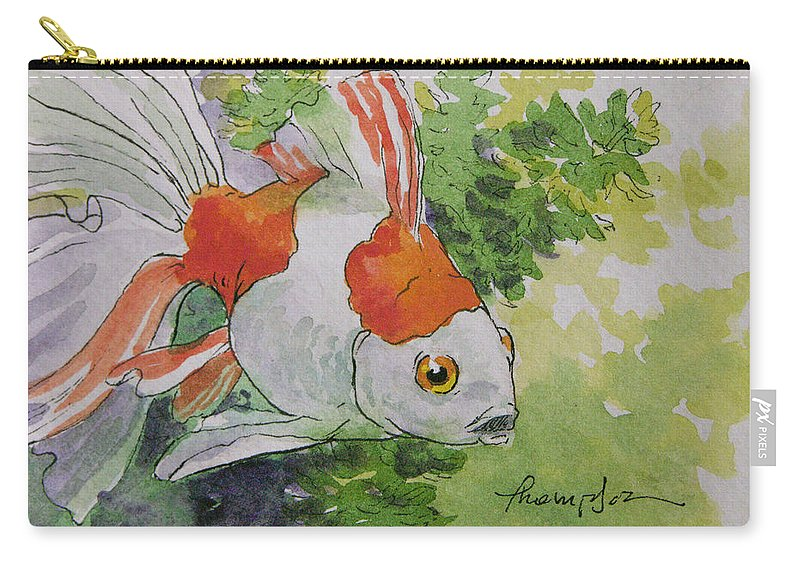 Goldfish Carry-all Pouch featuring the painting Friendly Fantail Tiny Goldfish Painting by Tracie Thompson