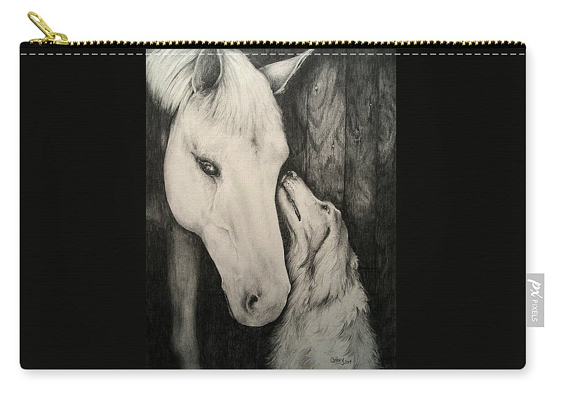 Horse Carry-all Pouch featuring the drawing Friends by Catherine Howley