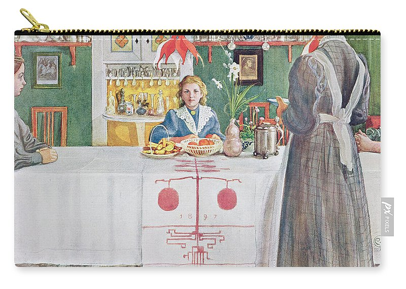 Illustration Carry-all Pouch featuring the drawing Friends From The Town - Dining Room by Carl Larsson