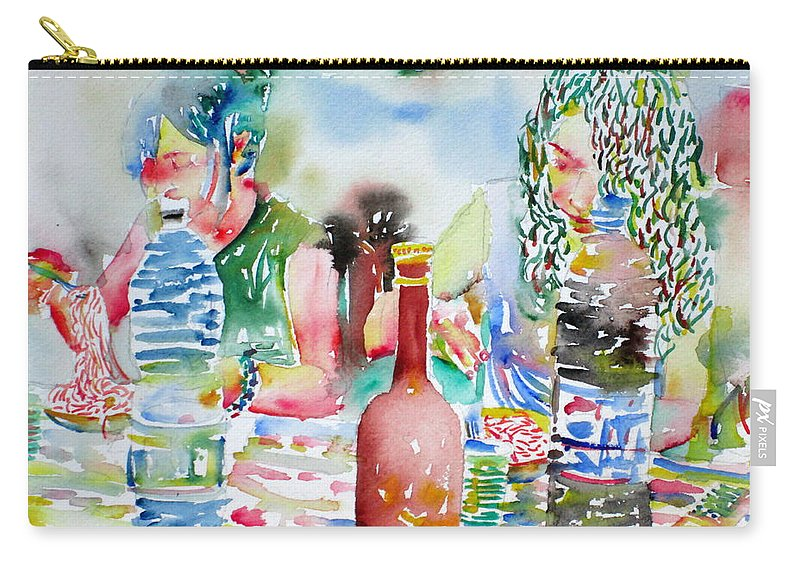 Friend Carry-all Pouch featuring the painting Friends Having Dinner by Fabrizio Cassetta