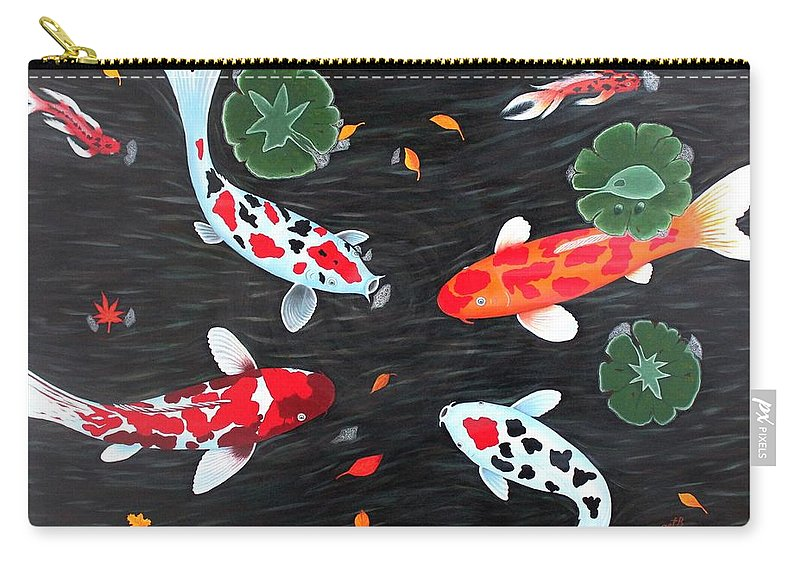 Koi Fish Carry-all Pouch featuring the painting Friendship Underwater Big Commissioned Painting by Georgeta Blanaru