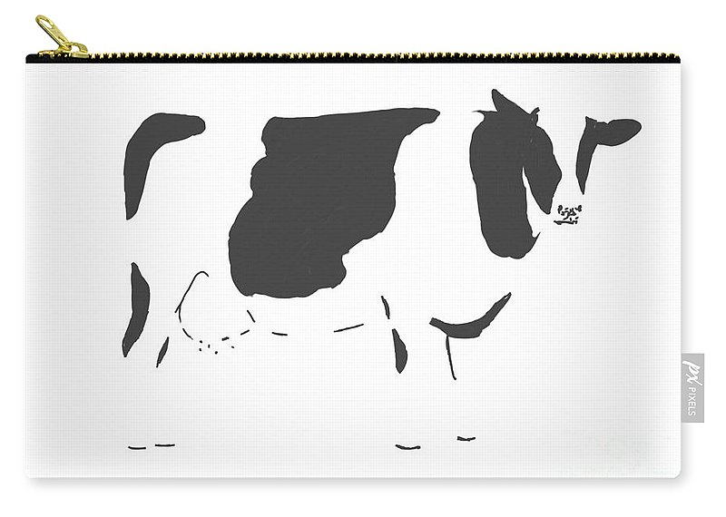 Cow Carry-all Pouch featuring the digital art Friesian Cow by Declan Leddy