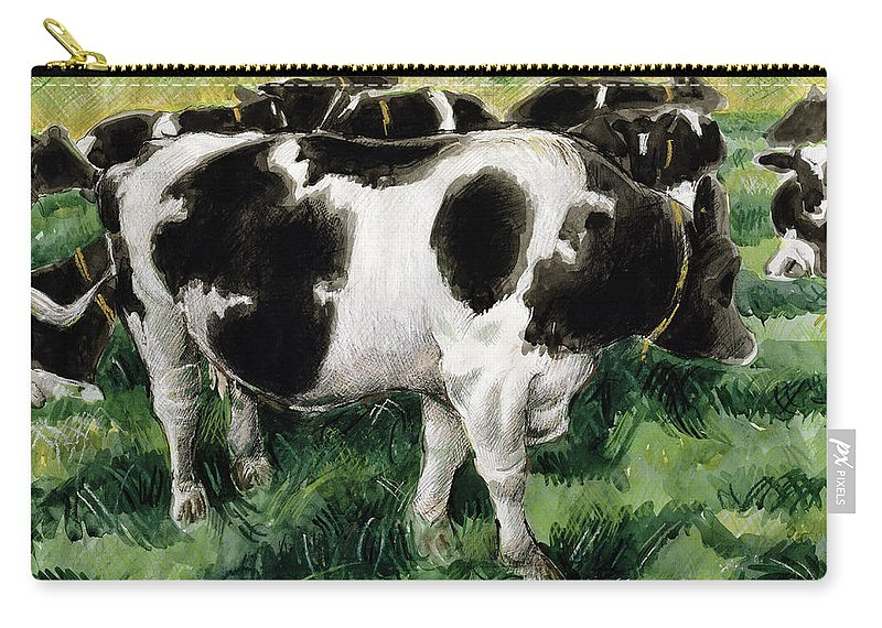 Herd Carry-all Pouch featuring the painting Friesian Cows by Gareth Lloyd Ball
