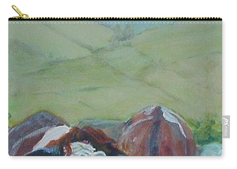 Cow Painting Carry-all Pouch featuring the painting Friesian Holstein Cows by Mike Jory