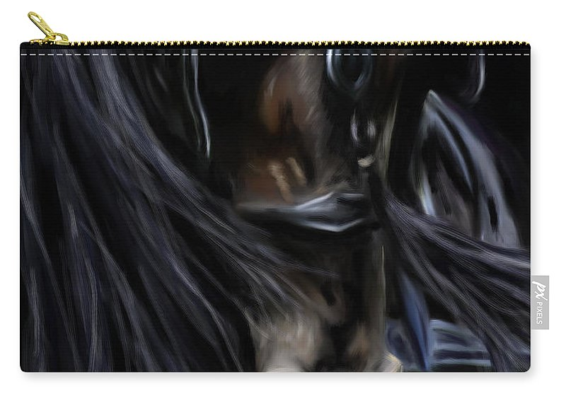 Horses Carry-all Pouch featuring the painting Friesian Spirit by Michelle Wrighton