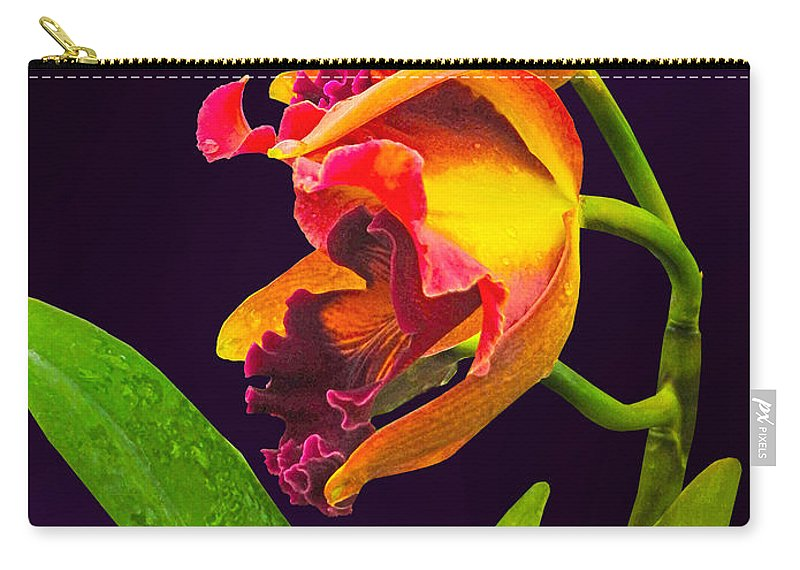 Orchid Carry-all Pouch featuring the photograph Frilly Red And Yellow Orchids by Susan Savad