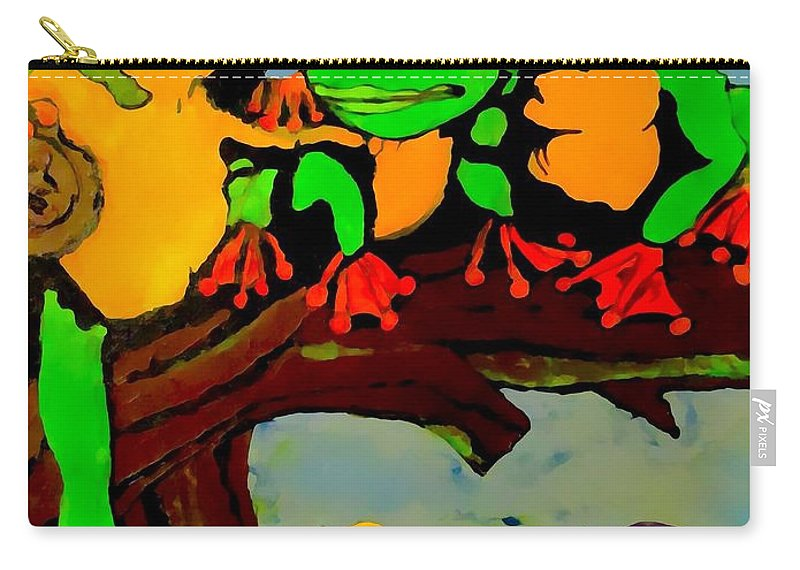 Frog Carry-all Pouch featuring the painting Frog Family Hanging Out On A Limb by Saundra Myles