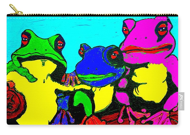 Frog Carry-all Pouch featuring the painting Frog Family Hanging Out On A Limb3 by Saundra Myles