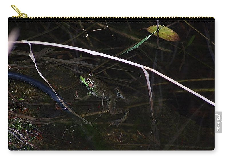 Frogs Carry-all Pouch featuring the photograph Frog In The Pond by Holly Eads