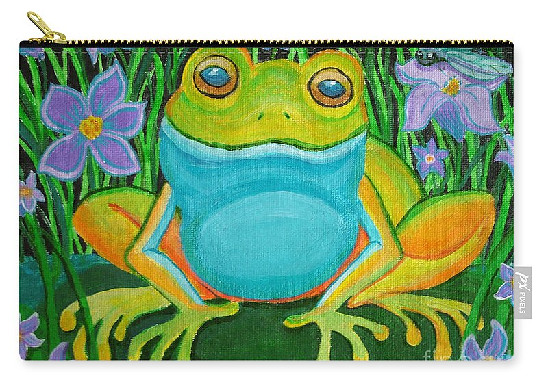 Ffrog Art Carry-all Pouch featuring the painting Frog On A Lily Pad by Nick Gustafson