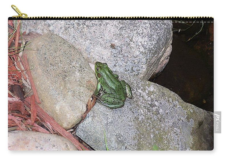 Frogs Carry-all Pouch featuring the photograph Frog On Rocks by Holly Eads