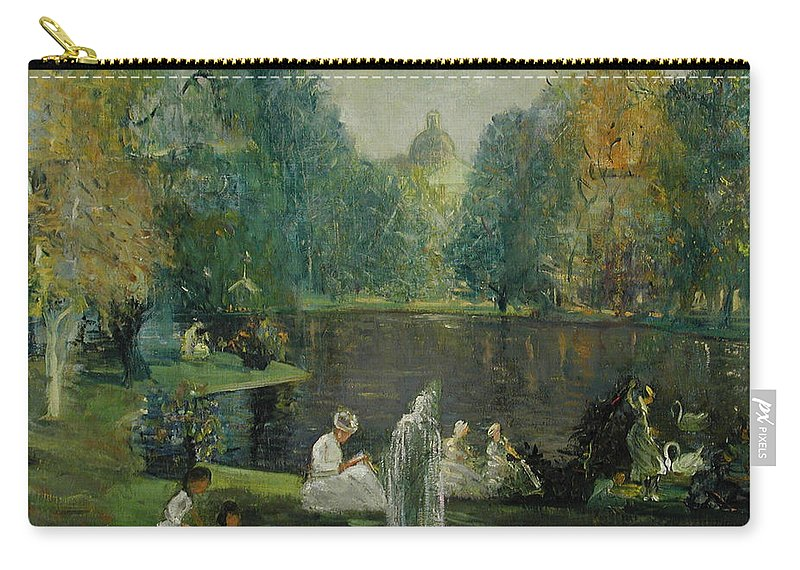 Urban Carry-all Pouch featuring the painting Frog Pond In Boston Public Gardens by Arthur Clifton Goodwin