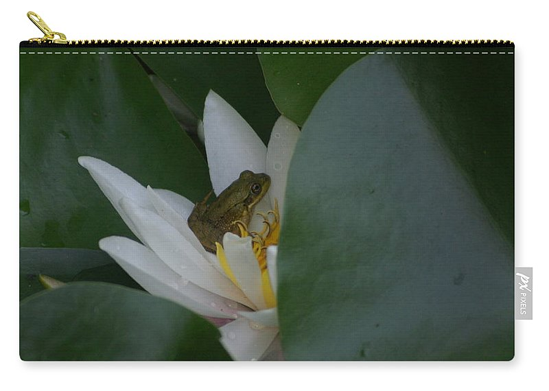 Frogs Carry-all Pouch featuring the photograph Frog Tucked In A Water Lily by Holly Eads