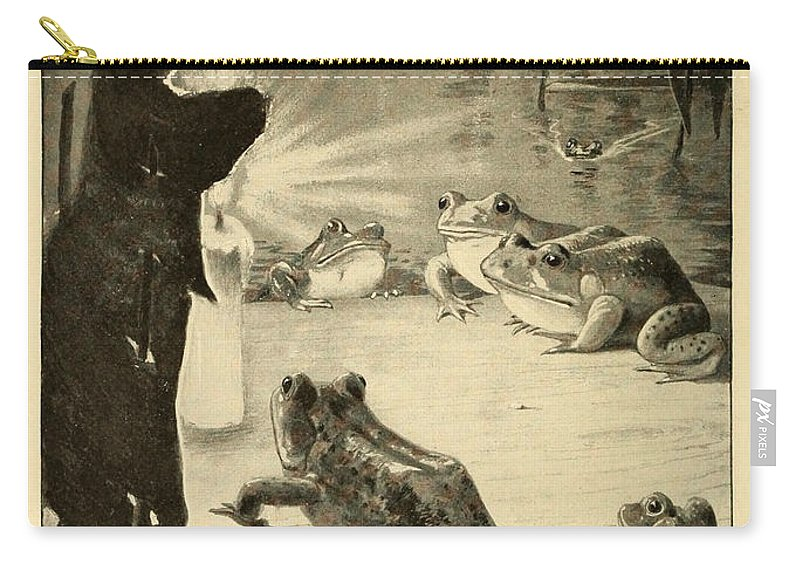 Frogs Carry-all Pouch featuring the painting Frogs And Candle by Philip Ralley