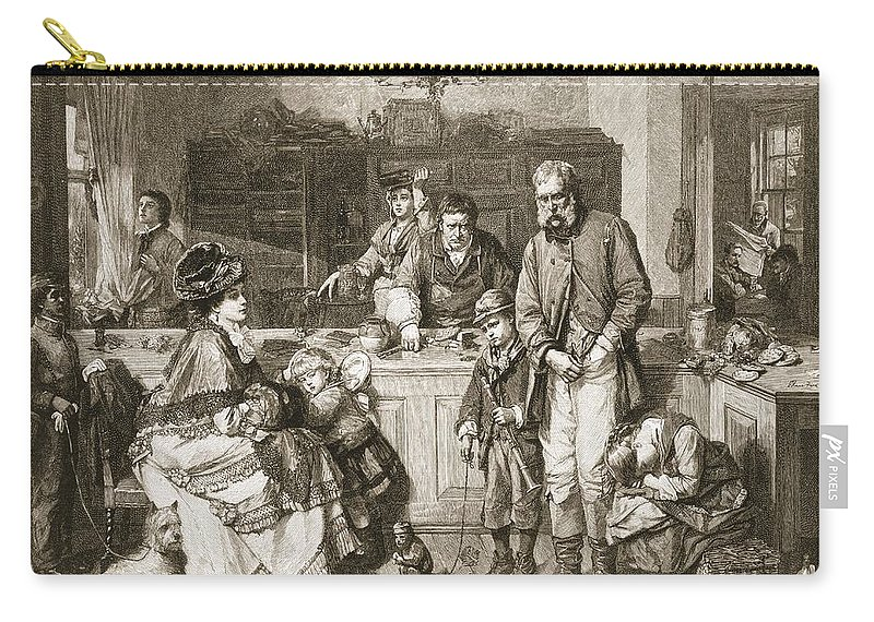 Poverty Carry-all Pouch featuring the drawing From Hand To Mouth, Engraved By J.m by Thomas Faed