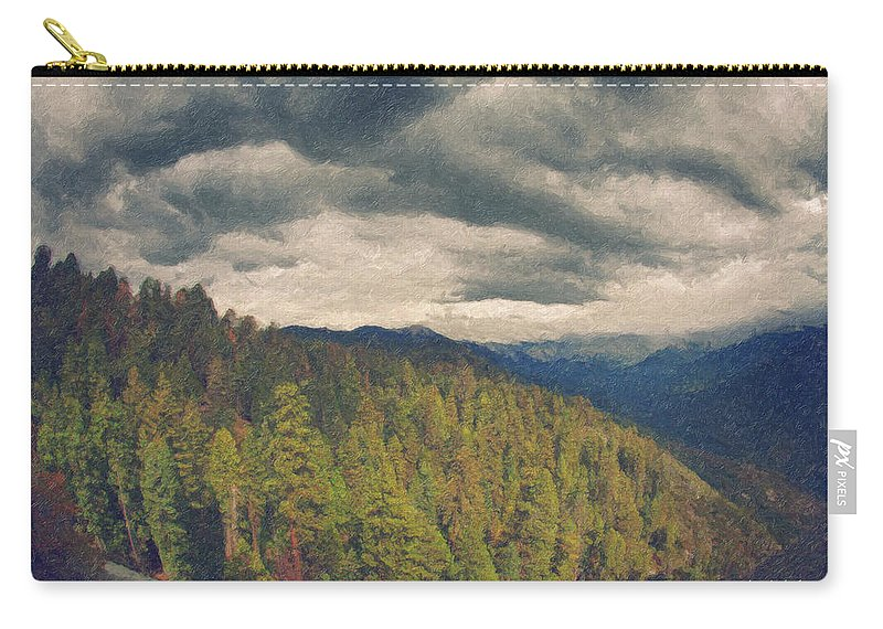 Moro Rock Carry-all Pouch featuring the painting From Moro Rock Of The Sequoias by Angela Stanton