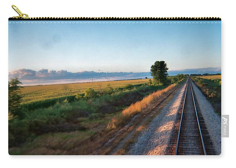 Fields Carry-all Pouch featuring the photograph Train Through Illinois by Susan Wyman