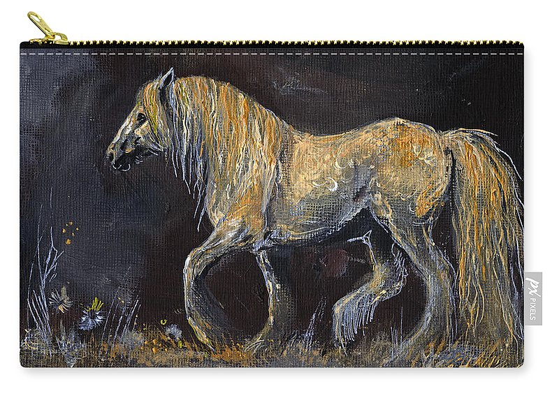 Shire Horse Carry-all Pouch featuring the painting From The Darkness by Angel Ciesniarska