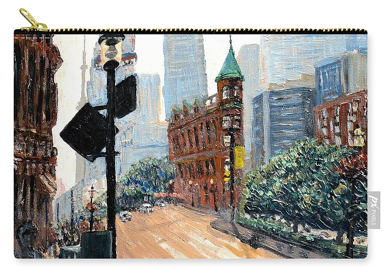 Toronto Carry-all Pouch featuring the painting Front And Church by Ian MacDonald