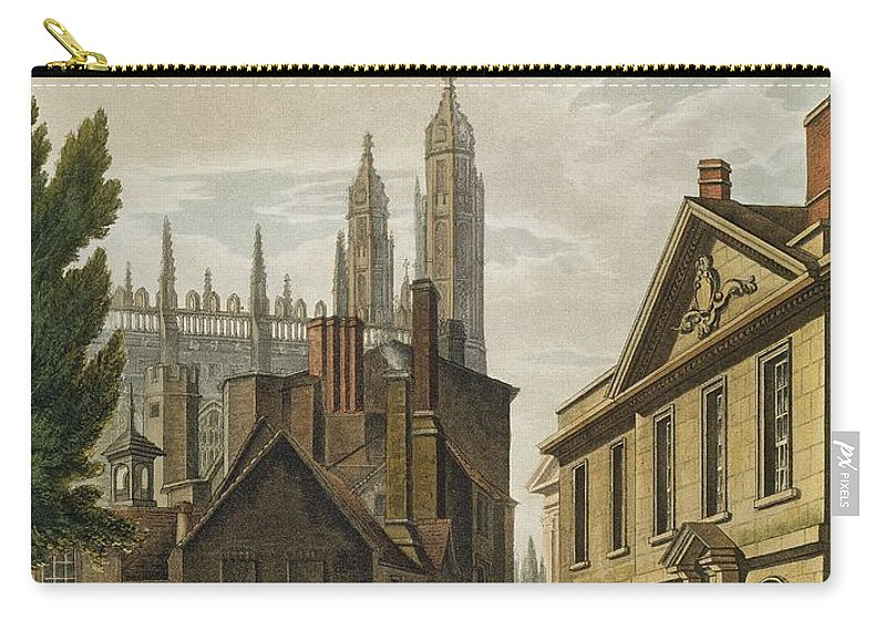 Architecture Carry-all Pouch featuring the drawing Front Of Trinity Hall, Cambridge by Augustus Charles Pugin