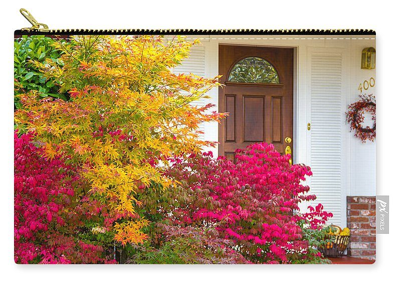 Front Yard Carry-all Pouch featuring the photograph Front Yard Autumn Decor, Quincy California by Tirza Roring