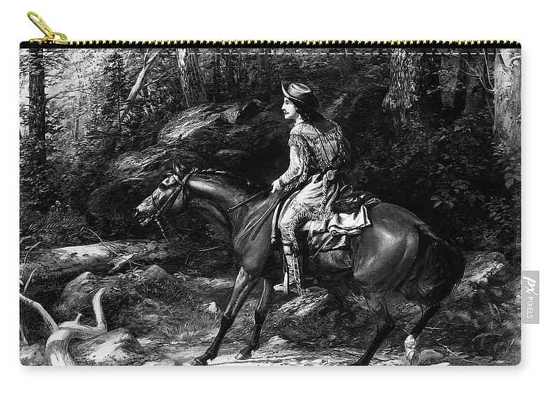 19th Century Carry-all Pouch featuring the painting Frontiersman, 19th Century by Granger