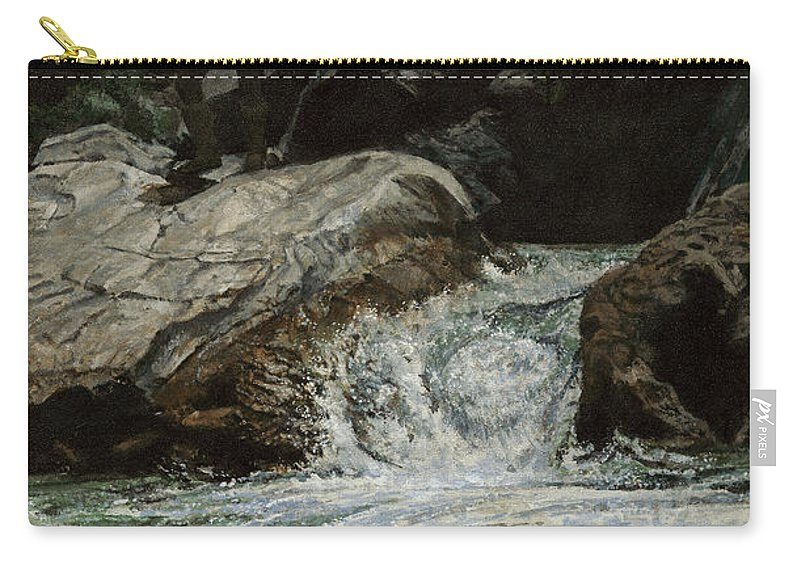 Frontiersman Carry-all Pouch featuring the painting Arizona Frontiersman Rocks by Don Langeneckert