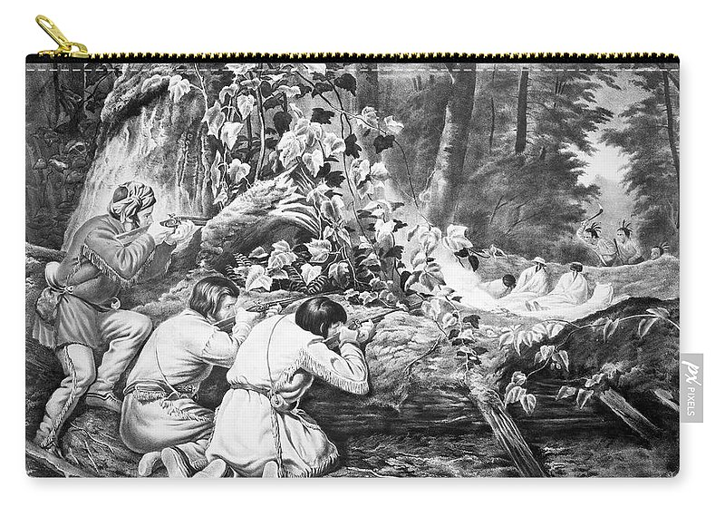 1862 Carry-all Pouch featuring the painting Frontiersmen, 1862 by Granger