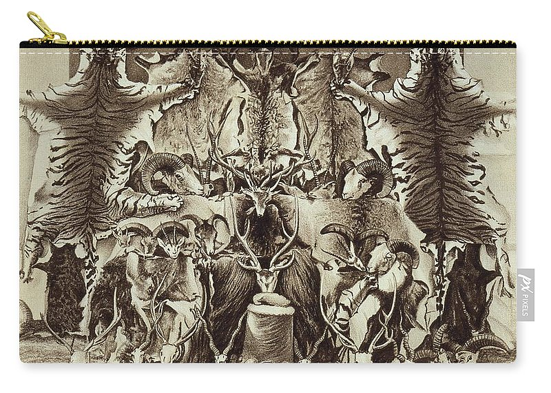 Skin Carry-all Pouch featuring the drawing Frontispiece Of Large Game Shooting by English School