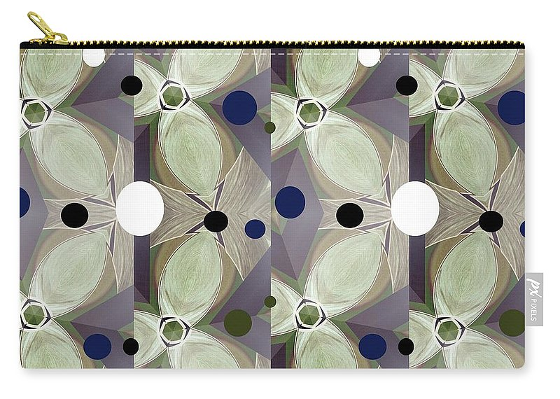 Modern Carry-all Pouch featuring the mixed media Frosted Green Flower by Ann Calvo