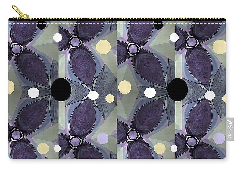 Purple Carry-all Pouch featuring the mixed media Frosted Purple Flower by Ann Calvo