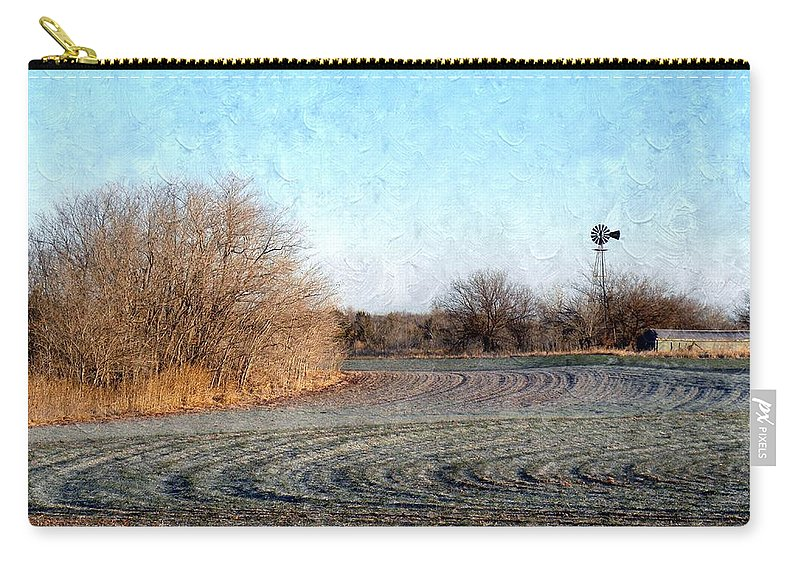 Frost Carry-all Pouch featuring the photograph Frosted Wheat by Annie Adkins
