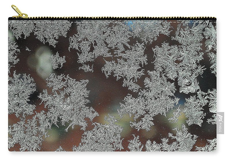 Frost Carry-all Pouch featuring the photograph Frosted Window by Frozen in Time Fine Art Photography