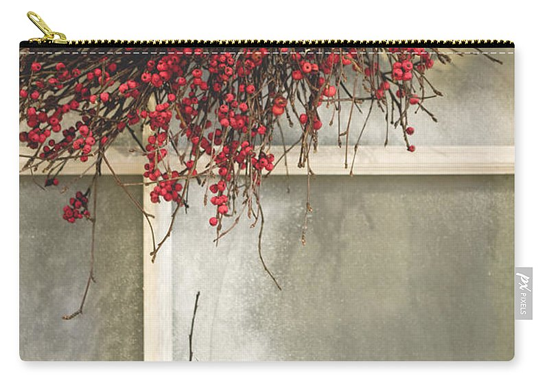 Window; Frost; Windowpane; Frosted; Wreath; Christmas; Red; Flowers; Country; House; Wooden; Home; Glass Carry-all Pouch featuring the photograph Frosted Windowpane by Margie Hurwich