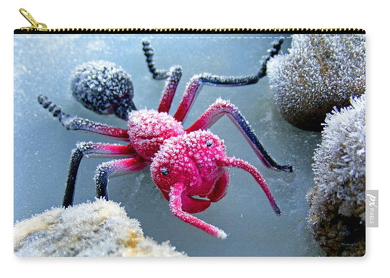 Frost Carry-all Pouch featuring the photograph Frosty Ant In Winter by Duane McCullough