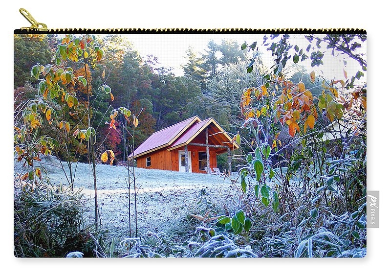 Landscapes Carry-all Pouch featuring the photograph Frosty Cabin by Duane McCullough