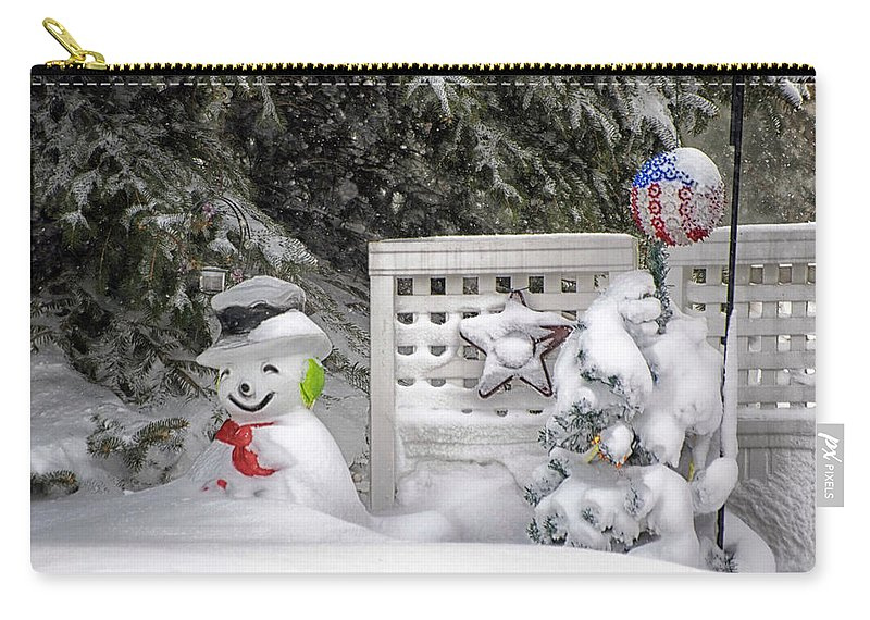 Holiday Card Carry-all Pouch featuring the photograph Frosty The Snow Man by Thomas Woolworth