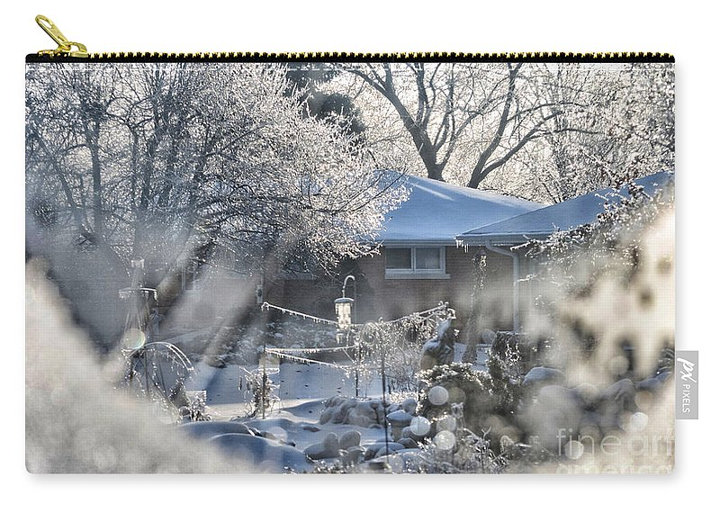 Frosty Carry-all Pouch featuring the photograph Frosty Winter Window by Thomas Woolworth