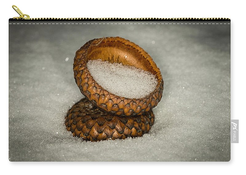 Nature Photograph Carry-all Pouch featuring the photograph Frozen Acorn Cupule by Paul Freidlund